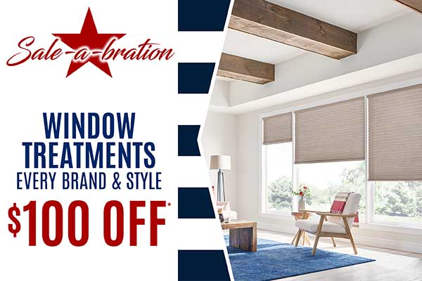 Save $100 on Window Treatments during our Storewide Sale-a-bration at Class Carpet in Levittown!