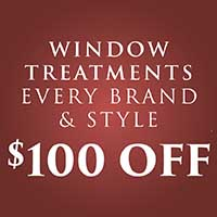 Anniversary Flooring Sale - Going On Now! - Window Treatments Every Brand & Style $100 OFF