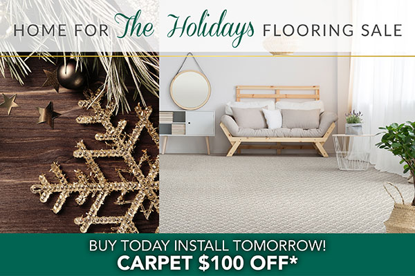 Get $100 off carpet during our Home for the Holidays Flooring Sale at Class Carpet & Floor in Levittown, NY
