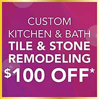 Custom kitchen and bath tile and stone remodeling $100 off at Class Carpet and Floor