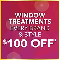 Window treatments in every brand and every style. $100 off during the Gold Tag Sale at Class Carpet and Floor